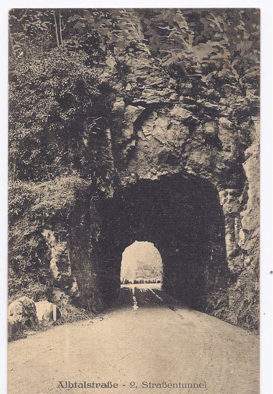 AK von 1918 mit dem 2. Straßentunnel der Albtalstraße
