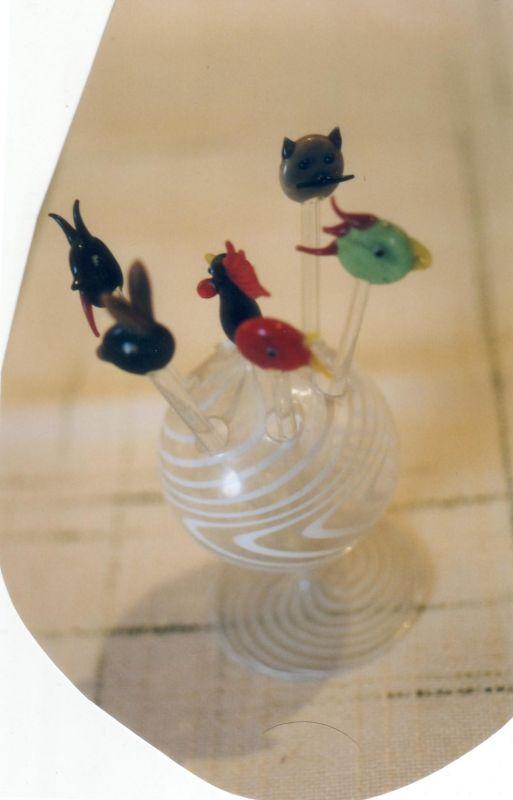Glassticker mit Tierköpfen ca. 1900