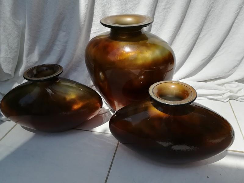 3 Vasen, dickes Glas, MADE IN SPAIN, gold-braun (leicht verlaufend)