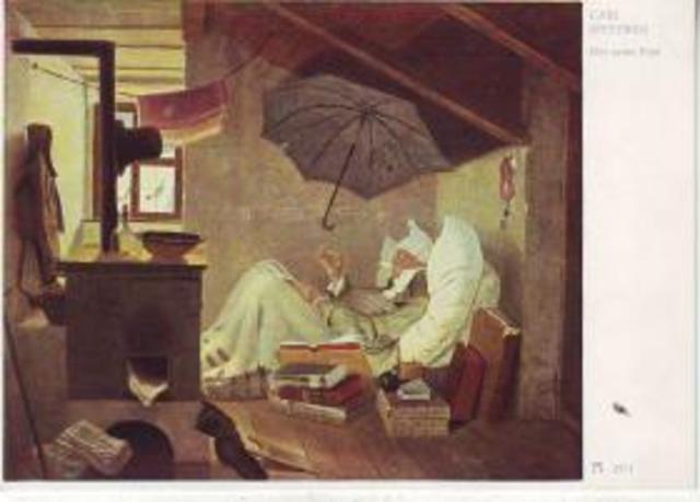 carl spitzweg der arme poet nr ak01275 oldthing k nstler. Black Bedroom Furniture Sets. Home Design Ideas