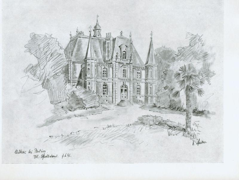 Chateau bei Pontivy, von H. Anders, Frankreich 1942, Ätzung