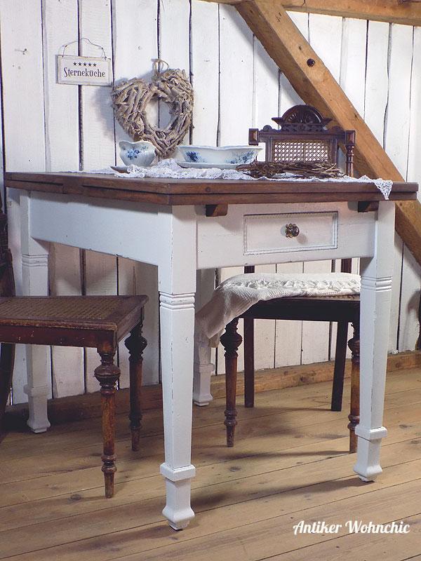 antiker Tisch, Ausziehtisch für 8 Personen, Esstisch Shabby