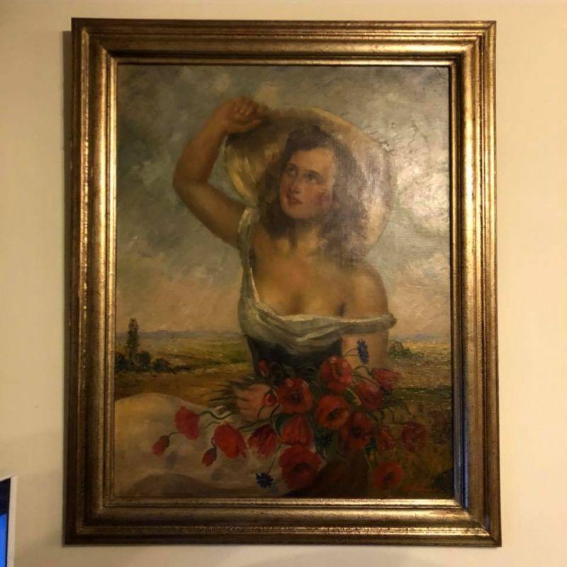 Ölgemälde um 1940 - Frau mit Hut - Sommer