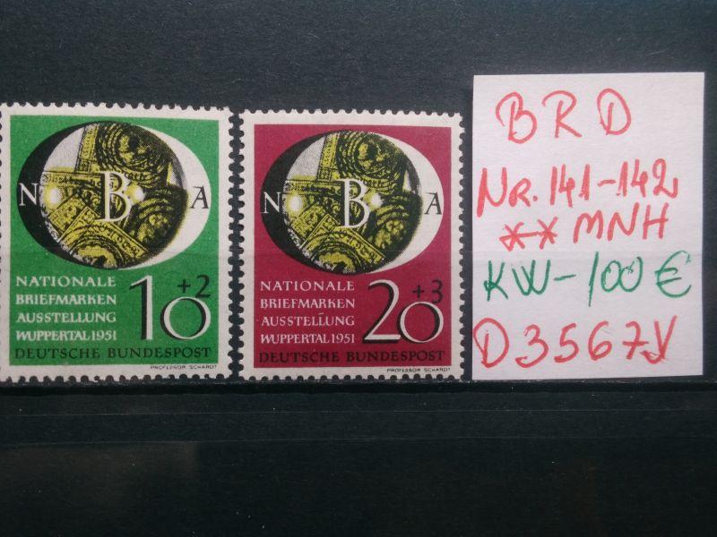 BRD Briefmarken Austellung Wuppertal Mi-Nr.141-142 ** Postfrisch