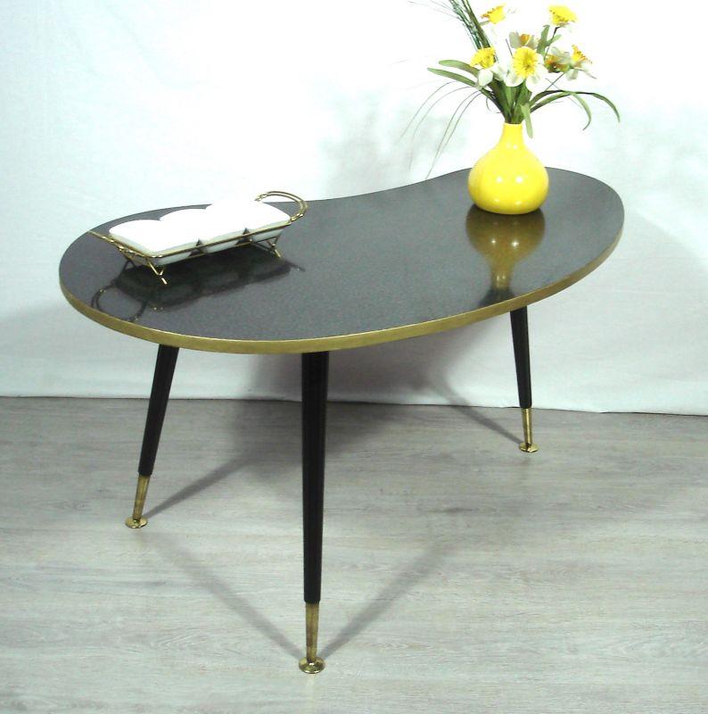 50er 60er Nierentisch Couchtisch schwarzes Resopal, ILSE Möbel, Rockabilly Mid Century