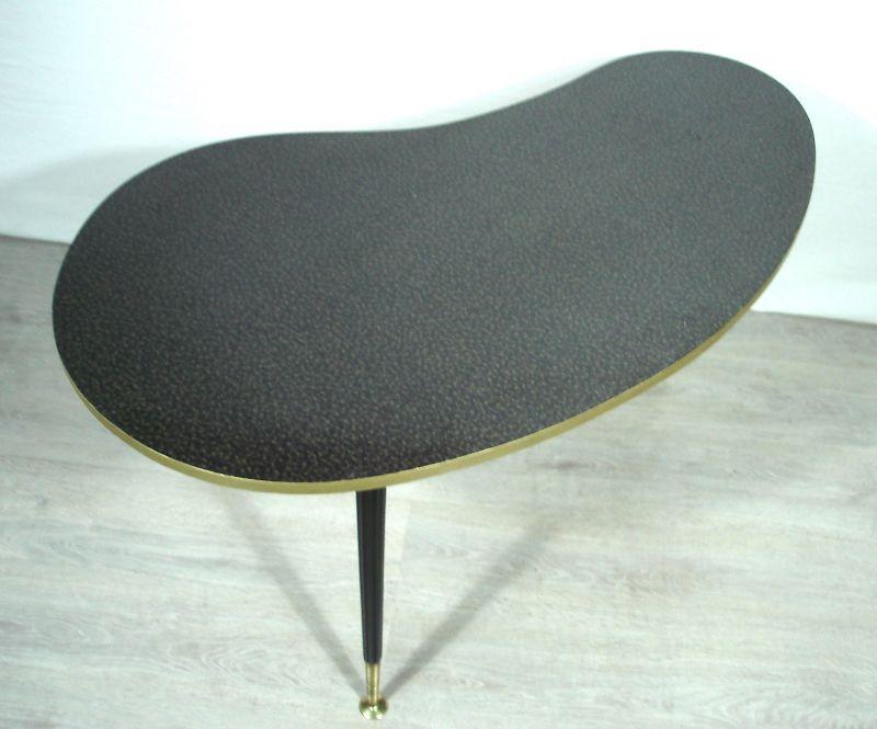 50er 60er Nierentisch Couchtisch schwarzes Resopal, ILSE Möbel, Rockabilly Mid Century 1