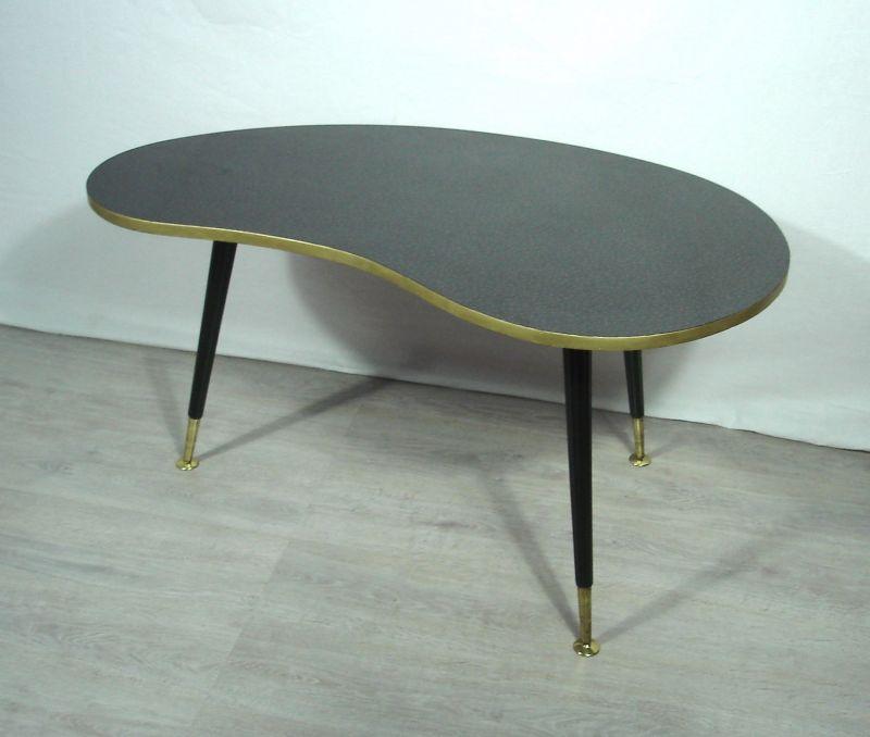50er 60er Nierentisch Couchtisch schwarzes Resopal, ILSE Möbel, Rockabilly Mid Century 4
