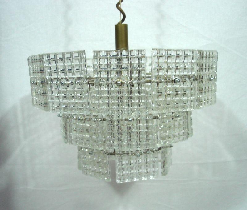 70er Kristall Hängelampe mit 27 Prismen Glasplatten, 3 Stufen, Made in Italy