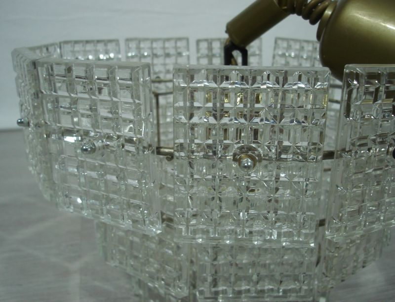70er Kristall Hängelampe mit 27 Prismen Glasplatten, 3 Stufen, Made in Italy 2
