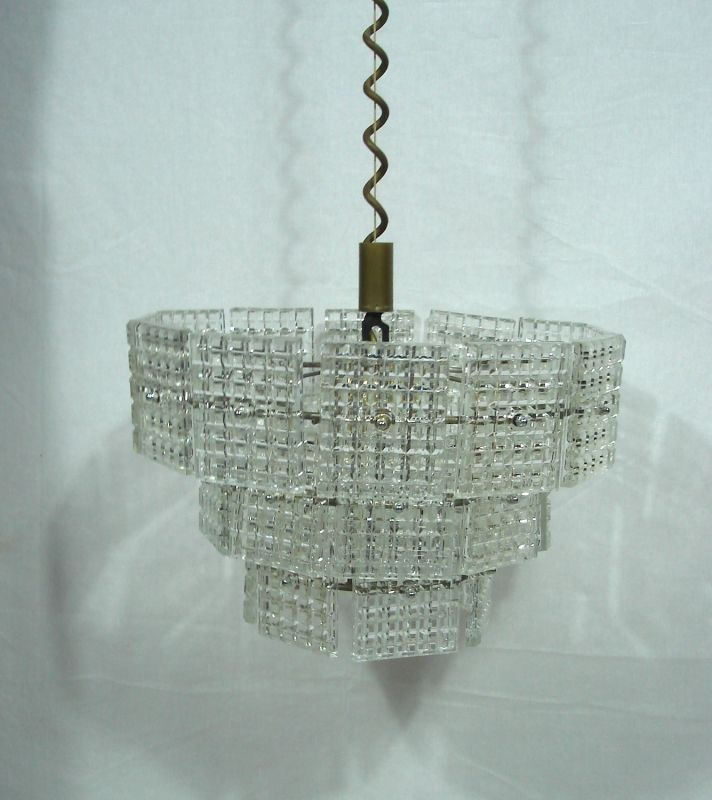 70er Kristall Hängelampe mit 27 Prismen Glasplatten, 3 Stufen, Made in Italy 4