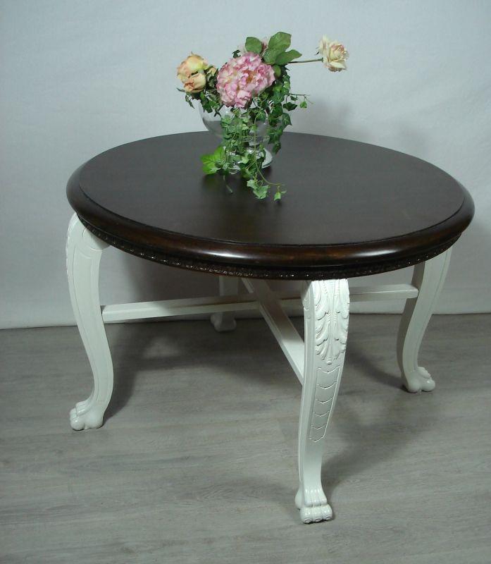 1920er Runder Esstisch Wiener Salontisch, geschwungene Beine, Nußbaum dunkel + Weiß