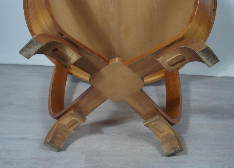 50er 60er Art Déco Stil Designer Couchtisch rund, Mid Century, Kirschholz 6