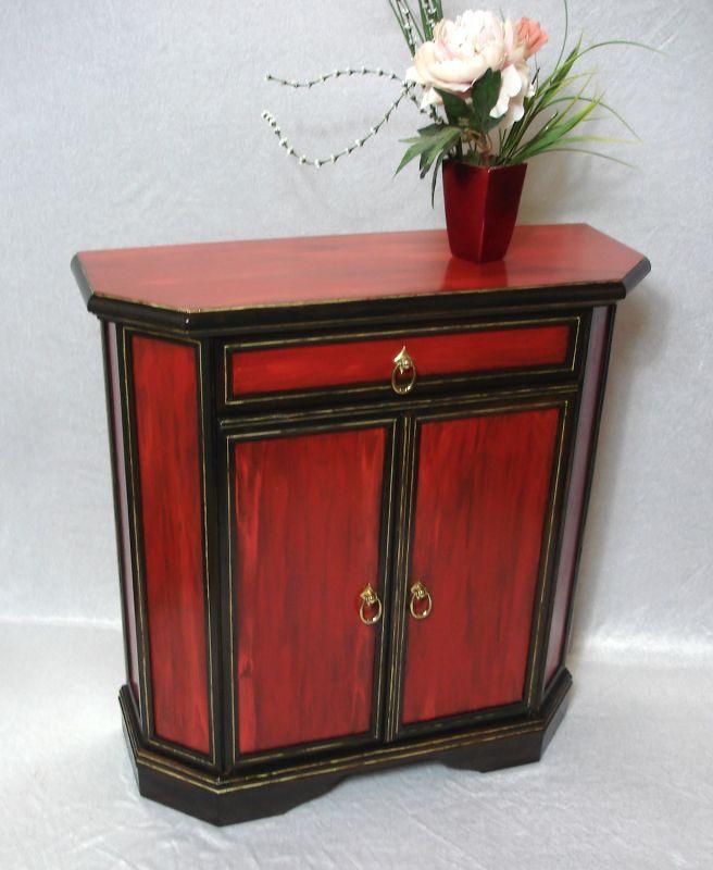 Alter Flurschrank Sideboard Kommode, Antik Stil Shabby Rot + Nußbaum dunkel