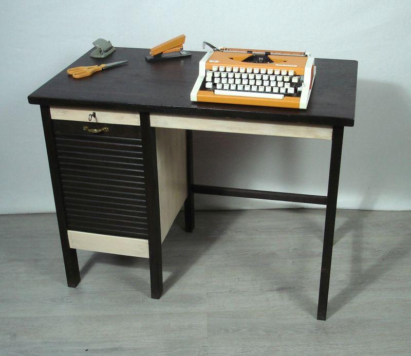 Alter Schreibtisch klein, Laptop Tisch, Schreibmaschinentisch mit Rolladentüre, Nußbaum dunkel + Shabby Weiß, ca. 20er 30er