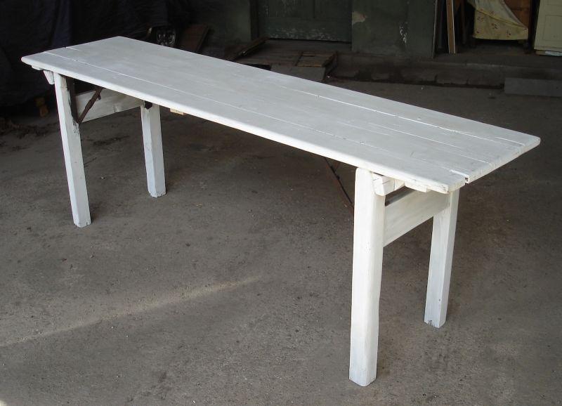 1920er Landhaus Esstisch Biergarten Tisch, Party Tisch faltbare Beine, rustikal shabby weiß L 216 cm