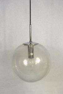 Kugelglas Hängelampe Glashütte Limburg 29 cm Ø, Mid Century Modern