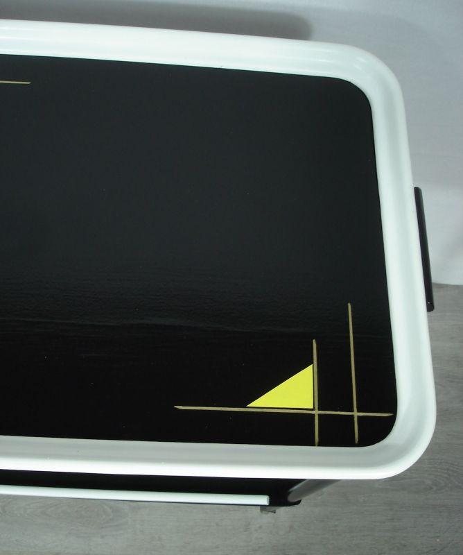 50er 60er Servierwagen Teewagen 2 Ebenen in Schwarz Rot  Gelb mit Space Age Muster, Mid Century  5