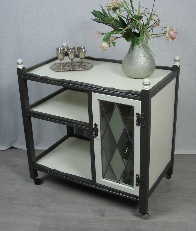 50er Hausbar Wagen, Rolltisch, Servierwagen, 2 Ebenen, Tiffany Stil Glas-Fach, shabby weiß +grau, Praxis-Wagen, Badezimmer-Rolltisch