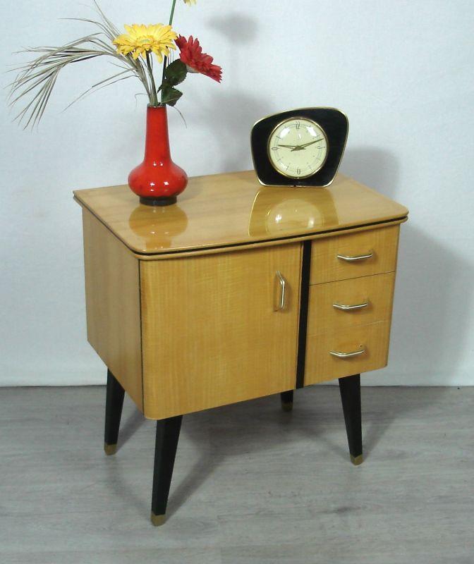 50er 60er Beistell Mini Kommode Nachttisch 3 Schubladen, Buche + Schwarz, Mid Century Modern