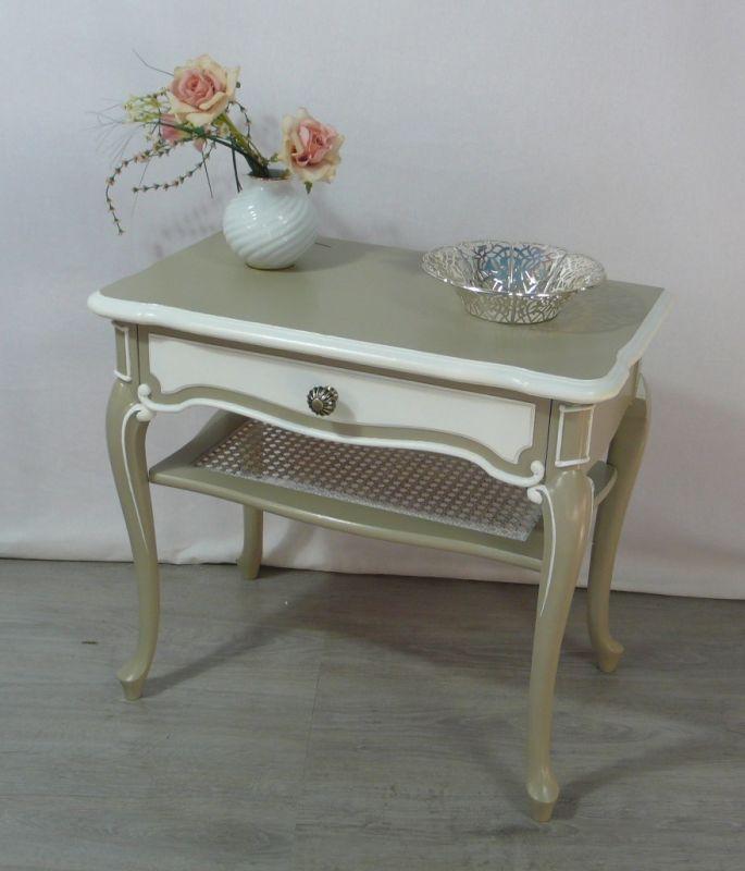 Chippendale Beistelltisch 1 Schublade 1 Ablage, grau + weiß Antik Stil 50er