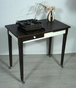 1920er Schreibtisch Laptop Tisch auf Rollen Schubl +Auszug, Nußb dkl +Antik-Weiß
