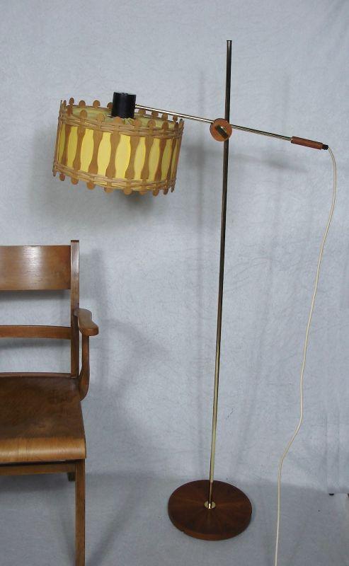 50er 60er Stehlampe Rattan Messing Teak, multi flexibel verstellbar, Mid Century Modern Design