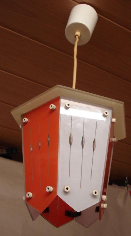 50er Flur Glas Hängelampe Laternen Stil, rot & weiss, Rockabilly, Mid Century Modern
