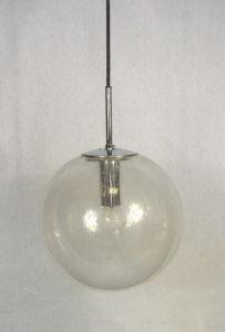 60er 70er Glasball Hängelampe 29 cm Ø, original Glashütte Limburg Mid Century Modern