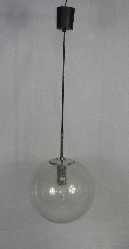 60er 70er Glasball Hängelampe 29 cm Ø, original Glashütte Limburg Mid Century Modern 1