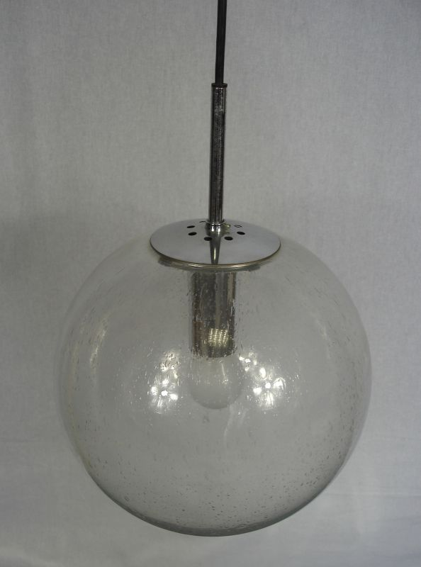 60er 70er Glasball Hängelampe 29 cm Ø, original Glashütte Limburg Mid Century Modern 2