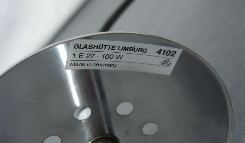 60er 70er Glasball Hängelampe 29 cm Ø, original Glashütte Limburg Mid Century Modern 3