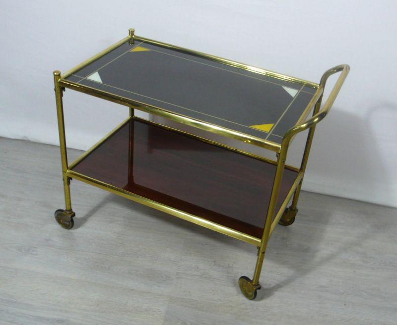 50er 60er Servierwagen Messing 2 braune Glasflächen Unikat Mid Century Modern