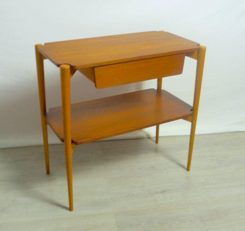 50er Teak Beistelltisch Fritz Hansen, 2 Ebenen 1 Schublade, Mid Century Modern