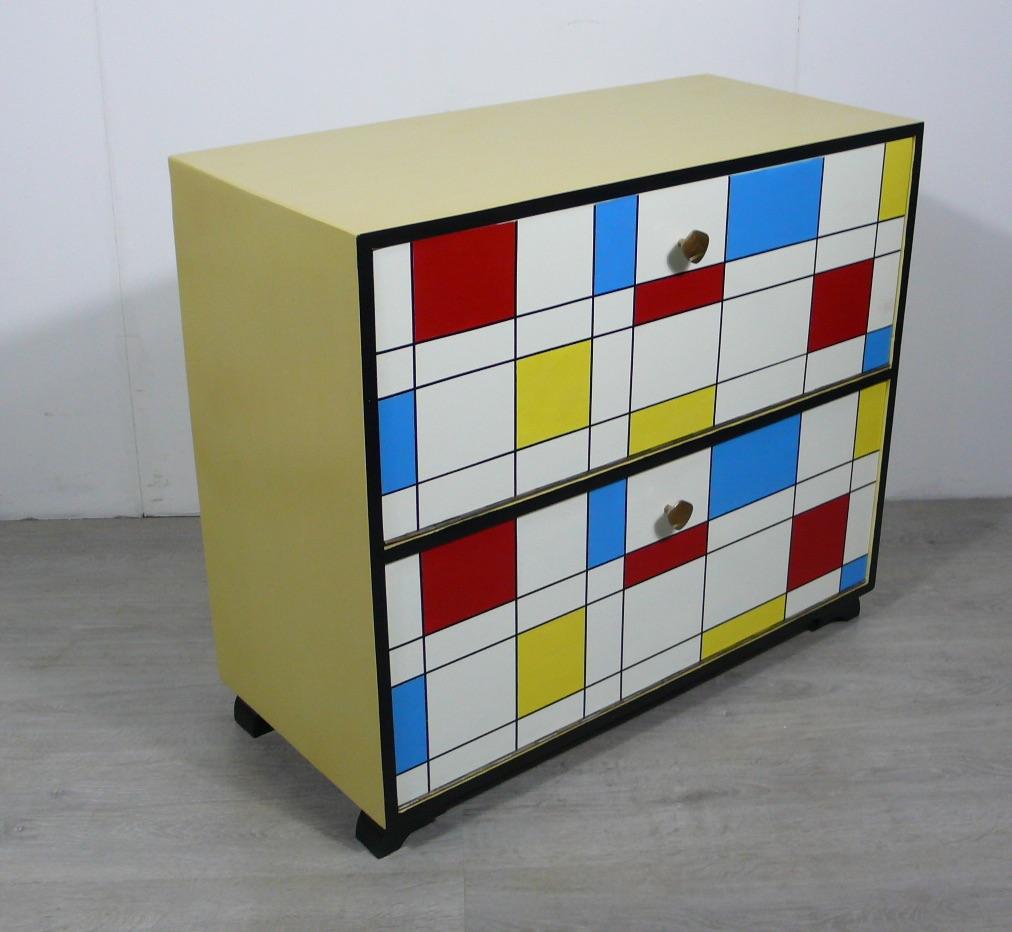 50er Schuhschrank 2 Klapptüren Mondrian Stil Muster, Mid Century Modern 1
