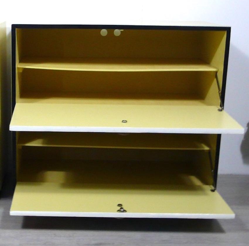 50er Schuhschrank 2 Klapptüren Mondrian Stil Muster, Mid Century Modern 3
