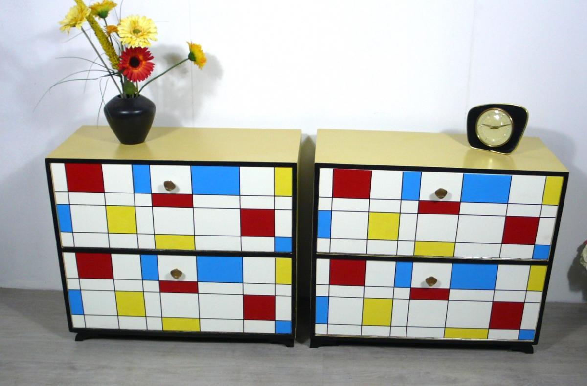 50er Schuhschrank 2 Klapptüren Mondrian Stil Muster, Mid Century Modern 4