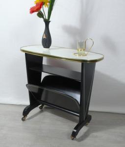 50er 60er Beistelltisch Lese Rolltisch mit Zeitungsfach, grau + schwarz, Mid Century Modern
