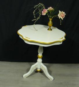 Runder Beistelltisch rund Säulenfuß Antik Stil, Weiß mit Gold Dekor