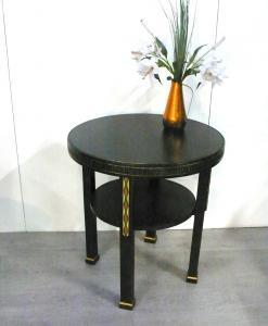 Runder Eiche Beistelltisch Sofa Tisch Art Déco, kunstvoll handbemalt, ca 30er