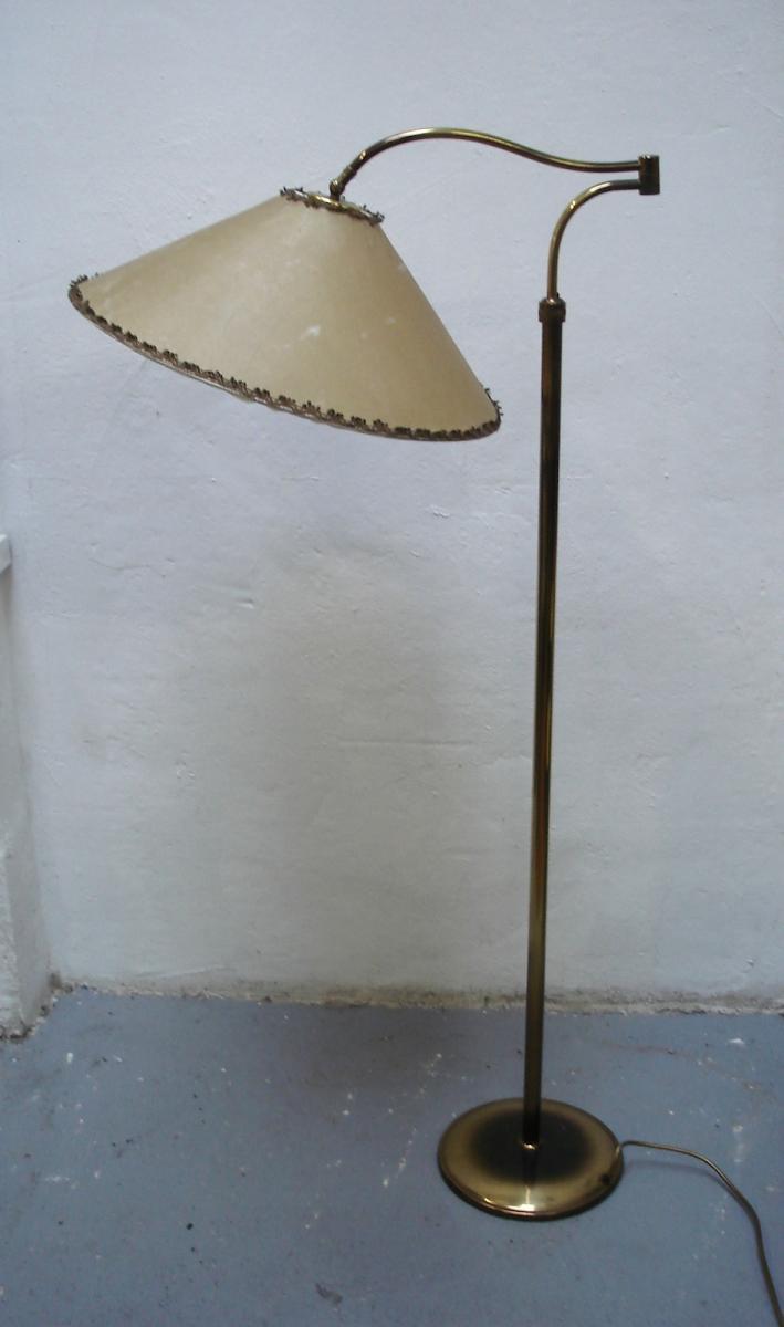 50er Schwenkarm Stehlampe Messing Original Space Age Schirm Mid
