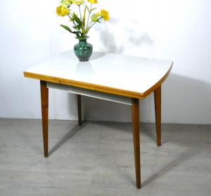 50er Küchentisch ausziehbar mit Schublade, Buche + Weiß + Resopal