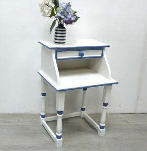 Beistelltisch alter Telefontisch, Mini Sekretär, Nachttisch mit Schublade, Weiß + Kupfer handbemalt