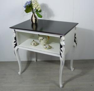 1930er Anrichte Tisch Chippendale Stil mit Ablage, Weiß + Nußbaum dunkel