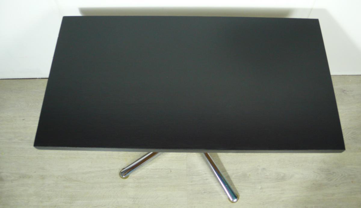70er Couchtisch schwarz mit Chrom Mittel Kreuzfuß, typischer 70er TV Tisch / HiFi Tisch 3
