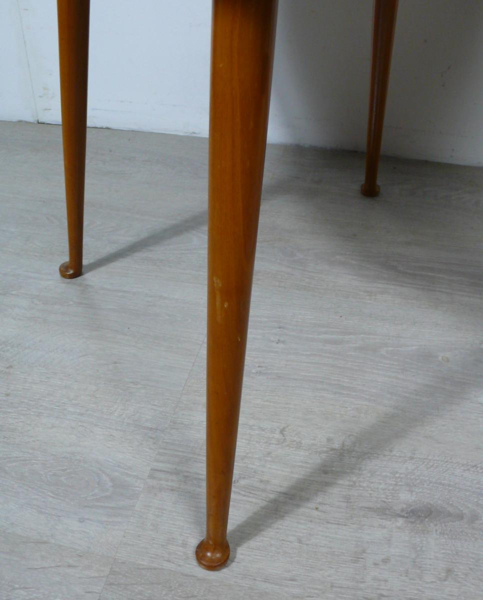 50er Couchtisch rund Esche Naturholz Mid Century Modern 3