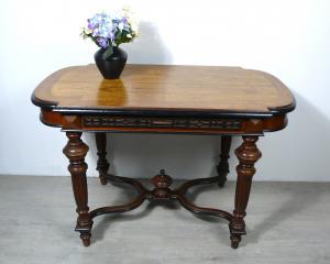 Antiker Tisch Esstisch Gründerzeit Nußbaum Natur + Dunkel, um 1880