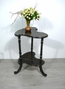 Antiker Blumentisch Beistelltisch Nußbaum dunkel + Gold-Akzente, 20er Jahre, Jugendstil