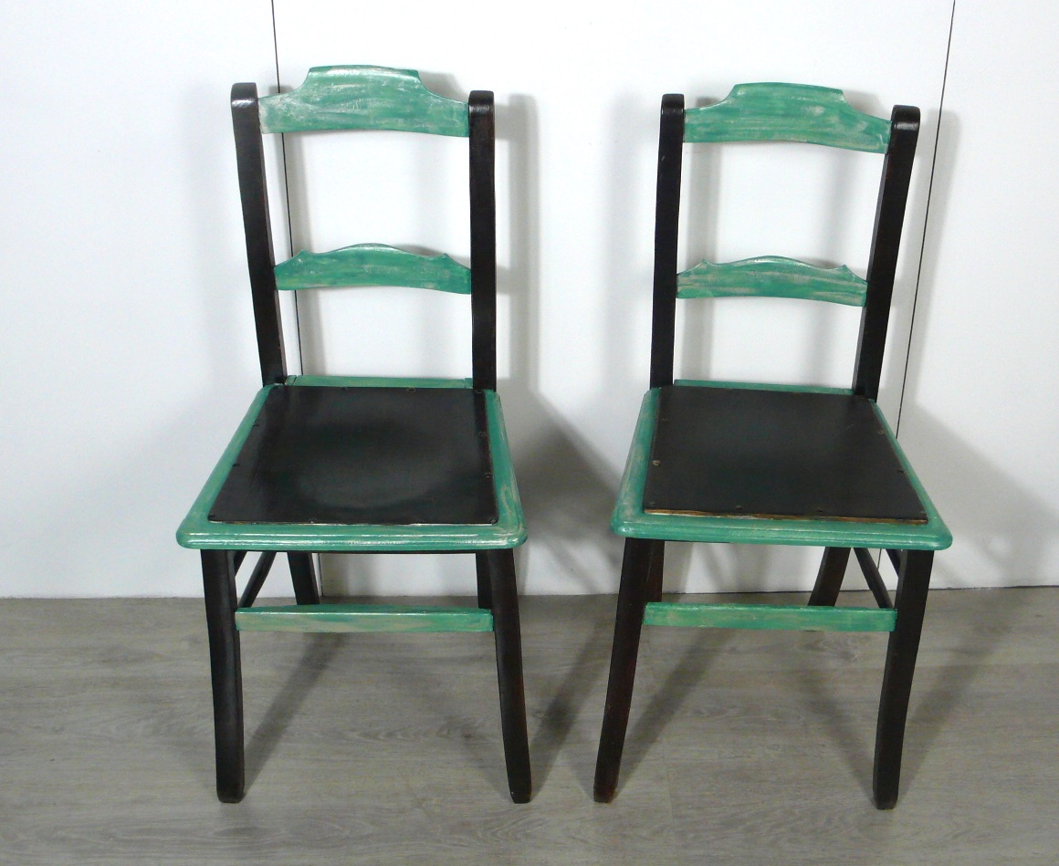 2 Antike Stuhle Cafehaus Stuhle Nussb Dunkel Antik Shabby Turkis Um 1900 Grunderzeit Handbemalt Nr Oid 36074697 Oldthing Grunderzeitstuhle