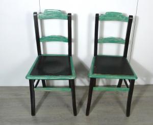 2 antike Stühle Cafehaus Stühle, Nußb dunkel + Antik Weiß, um 1900 Gründerzeit, handbemalt