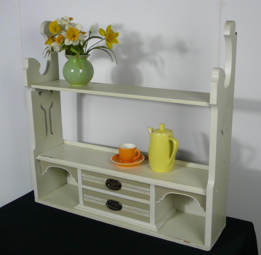 Großes Wandregal Küche Gewürzregal Jugendstil, shabby Weiß + Creme 1920er